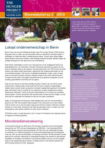 Nieuwsbrief augustus 2010 - The Hunger Project