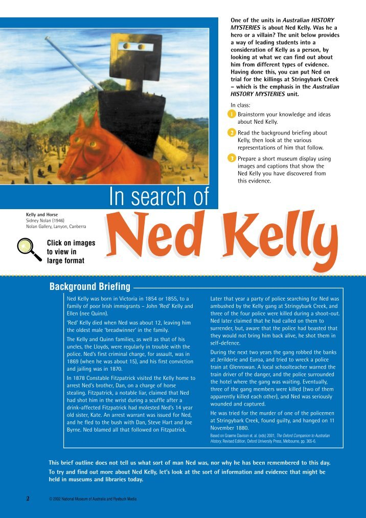 the criminal activity of ned kelly and why he should be an australian icon I'm not 100% sure but i think ned kelly is a hero because he it said that he is like the australian a hero ned did a lot of criminal acts in.