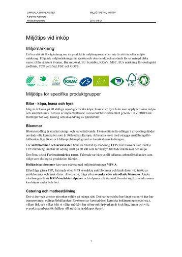 Miljötips vid inköp - Uppsala universitet