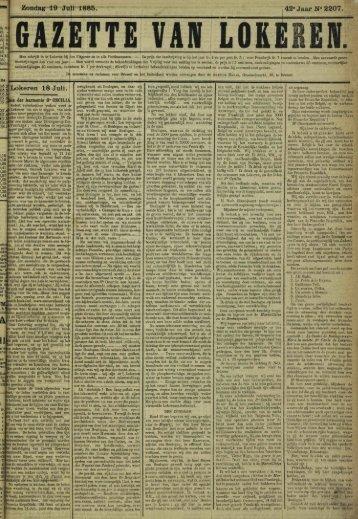 """Zondag 19 Juli 1885. 42"""" Jaar N» 2207. Lokeren 18 Juli."""