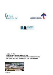 Student Guide - THE CERTIFICATE IN LOGISTICS - Fritz Institute