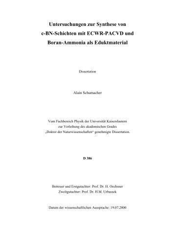 Untersuchungen zur Synthese von c-BN-Schichten mit ECWR ...