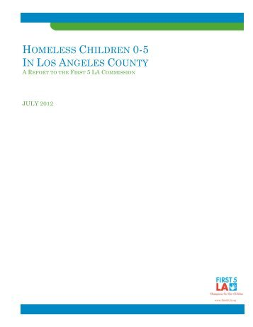 Homeless Children 0-5 In Los Angeles County - First 5 LA