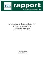 Granskning av kriteriearbetet för rengöringsprodukter i Svan ...