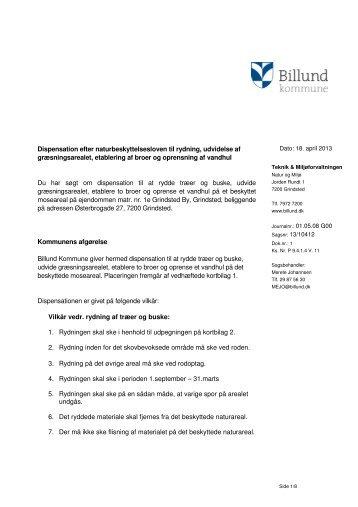 Dispensation til rydning, udvidelse af ... - Billund Kommune
