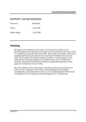 managementsamenvatting inspectie 3-6-2008 - Waarderingskamer