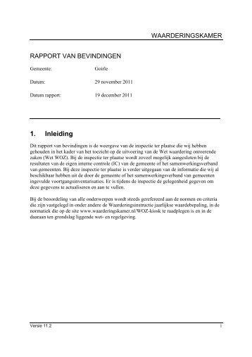 managementsamenvatting inspectie 29-11-2011 - Waarderingskamer