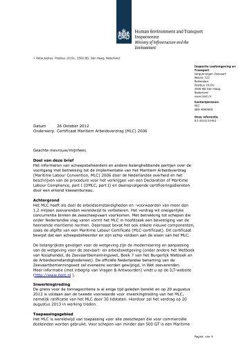 Brief informatie MLC - Inspectie Leefomgeving en Transport