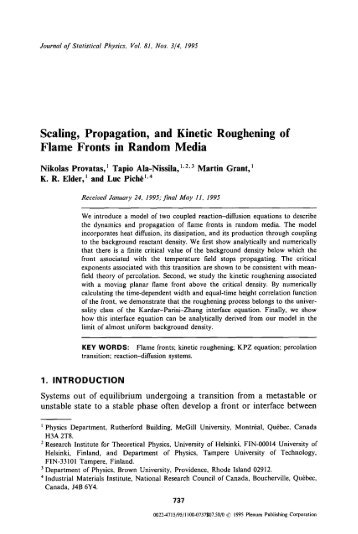 Scaling, propagation, and kinetic roughening of flame fronts in ...