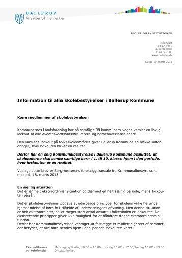 Brev til skolebestyrelser - Ballerup Kommune