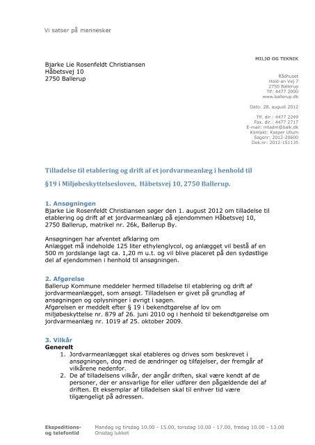 Tilladelse til etablering og drift af et jordvarmeanlæg i henhold til ...