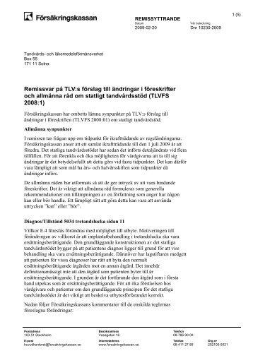Remissvar (pdf 41 kB, öppnar nytt fönster) - Försäkringskassan