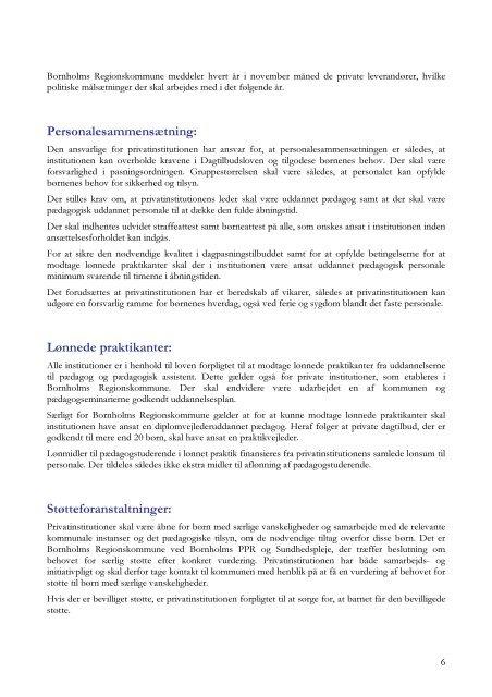 Godkendelseskriterier for private leverandører af dagtilbud