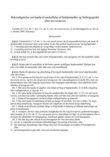 Bekendtgørelse om hjælp til anskaffelse af hjælpemidler og
