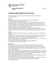 VERKSAMHETSBERÄTTELSE 2010