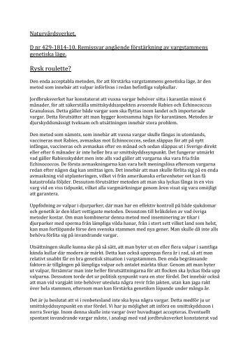 Läs Hans Boströms remissvar