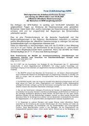 Stellungnahme des Arbeitsausschusses Europa - Caritas NRW