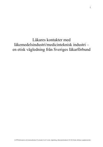 Etiska riktlinjer för kontakter med industrin - Sveriges läkarförbund