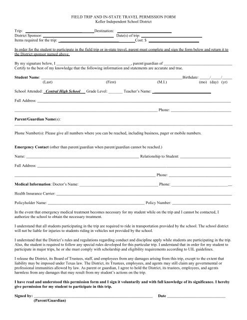 FIELD TRIP AND IN STATE TRAVEL PERMISSION FORM
