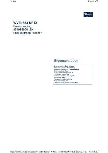 WVE1883 NF IX Eigenschappen - Guerre des Prix