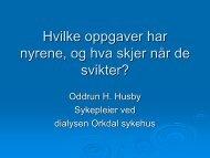 Hvilke oppgaver har nyrene, og hva skjer når de ... - St. Olavs Hospital