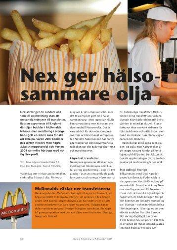 Nex ger hälsosammare olja - Svensk Raps