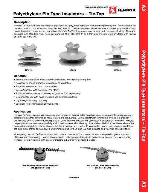 P olyethylene Pin Type Insulators – T ie-Top     - PROMELSA