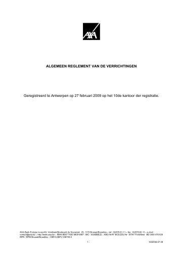 ALGEMEEN REGLEMENT VAN DE VERRICHTINGEN - Proximedia