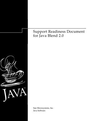 Support Readiness Document for Java Blend 2.0