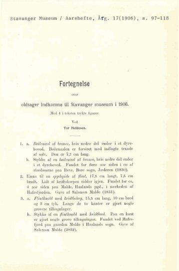 Fortegnelse over oldsager indkomne til Stavanger Museum i 1906