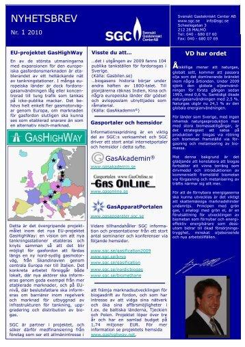 Nyhetsbrev 1 2010 - SGC