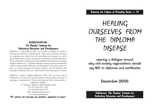 Healing Ourselves from the Diploma Disease - Swaraj Foundation