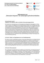 Stellungnahme Aktionsplan Integration 112006 - Caritas NRW