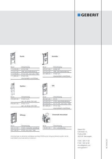 Geberit Urinoirstuursystemen en elementen - Warmteservice