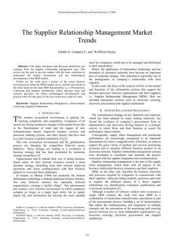 The Supplier Relationship Management Market Trends