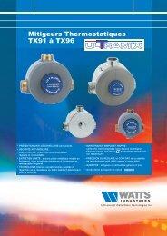 Mitigeurs Thermostatiques TX91 à TX96 - Watts Industries