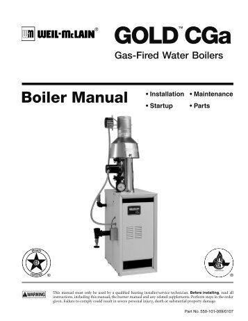 CGa SERIES BOILER SUGGESTED SPECIFICATIONS - Weil-McLain