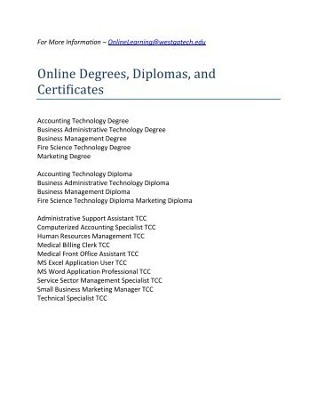 Online Degrees, Diplomas, and Certificates - West Georgia ...