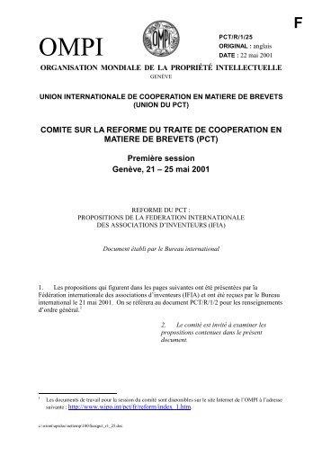 PCT/R/1/25 : Réforme du PCT: propositions de la Fédération ... - WIPO