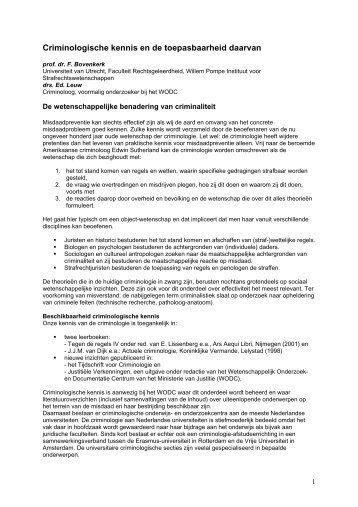 Criminologische kennis en de toepasbaarheid daarvan - WODC