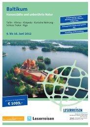 Baltikum Hansestädte und unberührte Natur 9. bis 16. Juni 2012