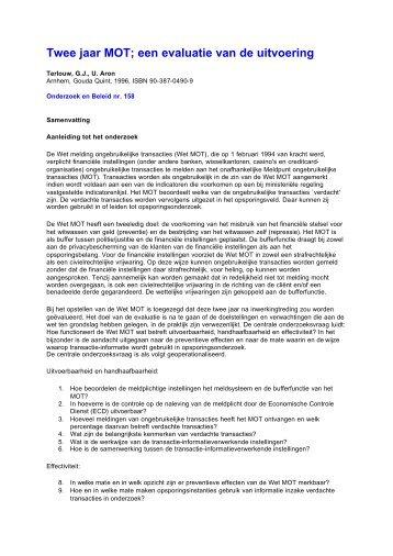 Twee jaar MOT; een evaluatie van de uitvoering - WODC