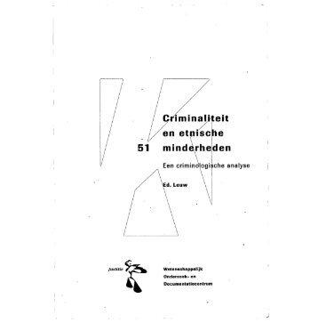 Criminaliteit en etnische minderheden; een criminologische ... - WODC