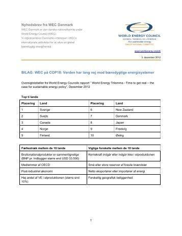 Bilag til nyhedsbrev december 2012 - World Energy Council