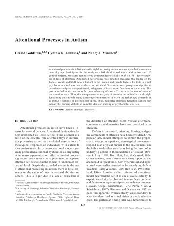 Attentional Processes in Autism - University of Pittsburgh ...