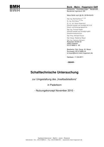 Schalltechnische Untersuchung - Stadt Paderborn