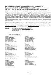 Der Spielplan des 28. TAGBLATT-Turniers - Schwäbisches Tagblatt