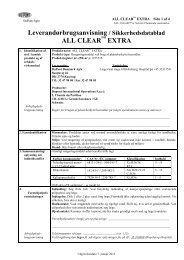 Leverandørbrugsanvisning / Sikkerhedsdatablad ALL ... - DuPont