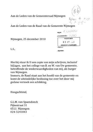 Brief d.d. 25 december 2010 met bijlagen - Gemeente Nijmegen