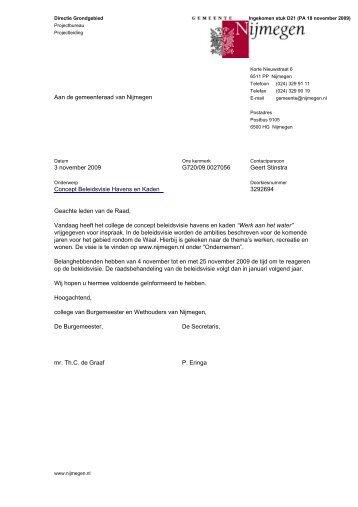 Brief d.d. 3 november 2009 met bijlage - Gemeente Nijmegen